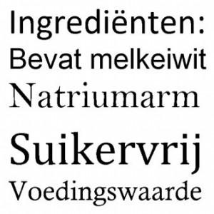 lettergrootte etiket